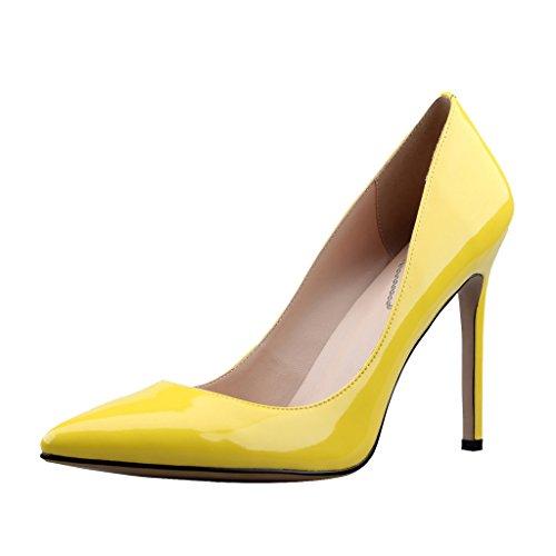 EKS Damenschuhe Spitz High Heels Pumps Gelb-Lackleder