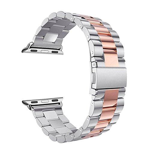 Bracelet pour Apple Watch 42MM Rose Gold, Rosa Schleife Bracelet Remplacement de Bracelet Sport Band Sangle avec Métal Fermoir Moderne Watch Strap Wristband pour iWatch 42mm - Argent & Or Rose