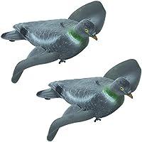 Riverside - 2 reclamos de caza flocados con diseño de paloma (alas giratorias) para soporte magnético