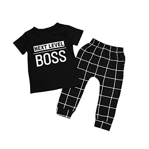 Baby Boy Outfit Next Level Boss Kurzarm T-Shirt und Hose 2-teilig Kleidungsset für Alter 1-6 ()