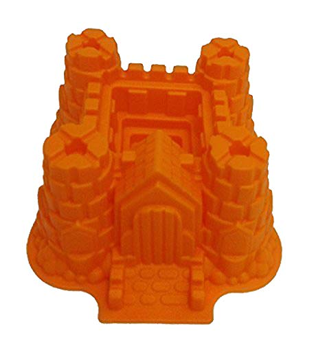 GMMH Original Silikonbackform XXL Burg Kuchen Backform Kuchenform Brotbackform Obstbodenform (orange)