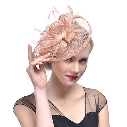 Guoyy Frauen Hochzeit Hut Fascinator Feder Mesh Party Cocktail Kopfschmuck Haarspange Neu (Champagner)