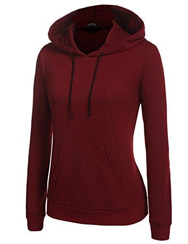 Parabler Frauen Kapuzenpullover Langarm Hoodie Pullover Sweatshirt mit Kapuze für Herbst Winter (Weinrot, L)