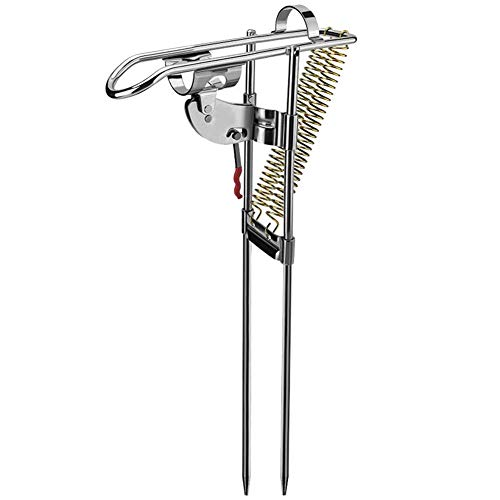 Metyere Stainless Steel Fishing Rod Holder Rack Automatically Pulls Back Portable Double Spring -