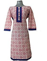 Bold N Elegant Red & White Warli Print 3/4 Sleeve Long Kurti Smart Straight Long Kurta Kurti For Women & Girls