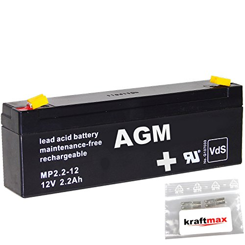 kraftmax 1x AGM 12V / 2,2Ah Blei-Akku - MP2,2-12 [ Faston 4,8 ] VDs geprüft - inkl. 2X Original Anschluß-Adapter