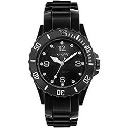Damen-Armbanduhr, Modell 20, verziert mit Swarovski-Kristallen, Silikon, Schwarz