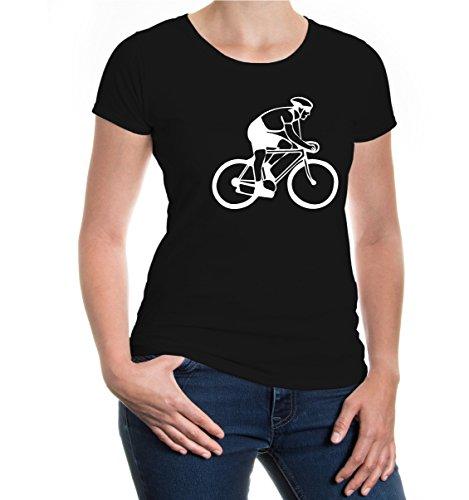buXsbaum Girlie T-Shirt Radfahrer-Silhouette-XXL-Black-White