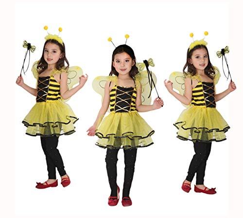 GIFT TOWER 4er Kostüme Biene Kinder Halloween Kostüm Baby Mädchen Kinderkostüme für Halloween Karneval Fasching Cosplay Gelb XL/10-12Jahre