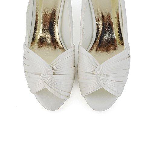 ESSEX GLAM Donna Nuziale Heel del Gattino Satinato Peep Toe Scarpa Avorio Satinato