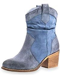 85b77347691032 Marimo Damen Boho Western Cowboy Stiefeletten Desert Boots in Wildlederoptik