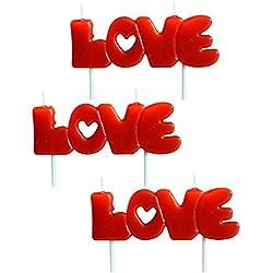 3pcs velas LOVE 8 * 12cm