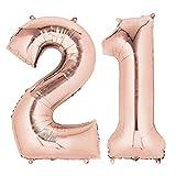 """QSUM 2 Palloncini 21,Numero 21 Compleanno Decorazione Oro Rosa Ragazza,40"""" Palloncino a Foglio di Elio Gonfiabile,Happy Birthday Party Palloncino Gigante Prom Festa Party"""