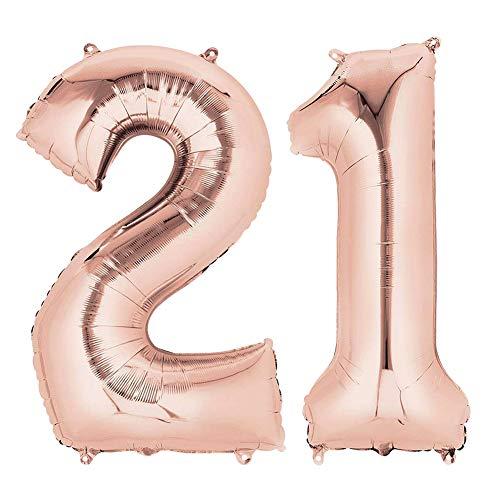 QSUM Luftballons 21. Roségold 40 Zoll große Zahlen Folienballon Perfekte Geburtstagsdeko