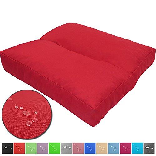 PROHEIM Loungekissen Wave schmutz- und Wasserabweisende Outdoor Kissen Sitzauflage Polster für Sitzbänke und andere Gartenmöbel Sitzkissen Polsterauflage mit Lotus Effekt, Farbe:Rot, Größe:40 x 40 cm - Outdoor Rot, Sitzbank