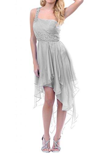 Toscane mariée ladiesfashion hi-lo abendkleider asymétrique courte en mousseline de cocktail partykleider demoiselle dhonneur Argenté - Argent