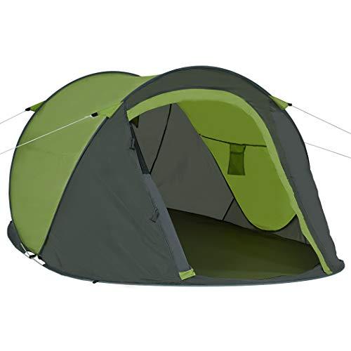Duhome Pop Up Strandzelt Polyester Grau + Grün blitzschneller Aufbau Zelt Wurfzelt Wetter- und Sichtschutz Farbauswahl PT-001