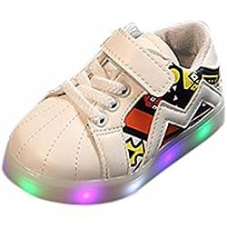 K-youth® Zapatos Unisex Niños LED Luz Luminosas Flash Zapatos Zapatillas de Deporte Zapatos de Bebé Antideslizante Zapatillas con Luces Para Niñas Niños (20 EU, Blanco)