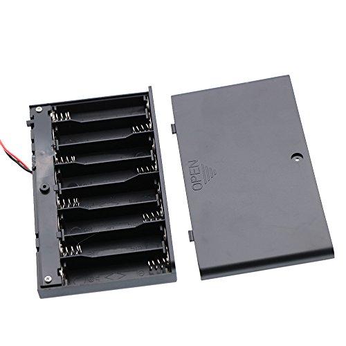 Waykino Akkusatz-Halterung aus Kunststoff, mit Federklemme, Ein-/Aus-Schalter und Abdeckung, 2 Stück, 8 x 1,5 V AA-Batterien, schwarze und rote Kabel -