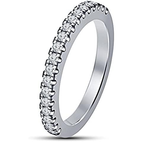 Vorra diamante-Fedina Eternity in argento Sterling 925 placcato in platino