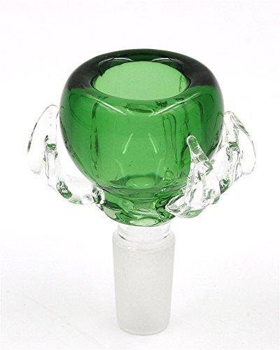 RORA Bongs Bowl bol en verre Bol de remplacement, adaptateur mâle, 14 mm / 18 mm bol de narguilé (Green, 14mm)