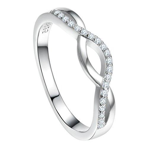 Selovo cross knot infinity wedding anello in argento 925con zircone l 1/2, n 1/2, p 1/2, r 1/2, t 1/2 e argento, 22, colore: white, cod. ss-rh007.10