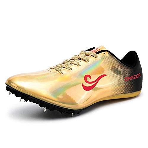 FJJLOVE Scarpe da Atletica Unisex Scarpe da Cricket Scarpe ultraleggere ad Alta Elasticità Professional 8 Chiodi da Corsa Scarpe da Allenamento per la Competizione,d'oro,36