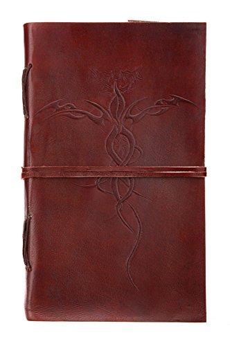 Romantische Geschenke: Leeres Buch - Notizbuch / Tagebuch aus Büffelleder und handgeschöpftem Papier - 23cm x 13cm - Dragon Leere-seiten-buch