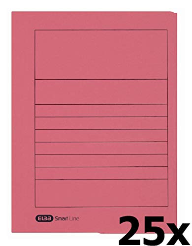 ELBA 100091164 Einschlagmappe Smart Line 25er Pack aus Karton mit 3 Innenklappen für DIN A4 rot ideal fürs Büro und die mobile Organisation