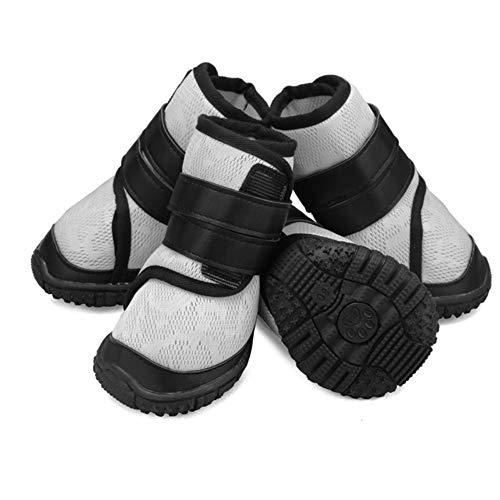 ungsaktives Mesh-Schuhe Mode Hohe Rohr Atmungsaktiv Strap Dog Schuhe Rutschfeste Hund Booties Krallenschutz - Für Alle Rassen - 4 Stück,Gray,70# ()
