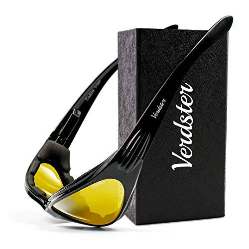 Verdster TourDePro POLARISIERTE Sonnenbrillen für Herren und Damen - ideal zum Fahren, Angeln oder für Motorrad - UV geschützter, verbesserter, komfortabler, faltbarer Rahmen (Schwarz) (Gelb)