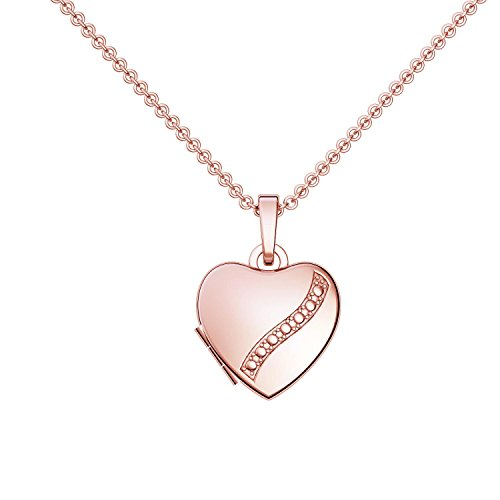 Herz Medaillon * Geschenk Freundin * Herzkette Foto Rotgold vergoldet * GRATIS Luxusetui Herz Anhänger zum Öffnen mit Kette inkl. GRATIS Luxusetui + – Herz Amulett FF03 VGRT