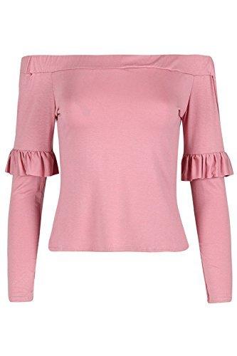 Oops Outlet Damen Rüsche Rüsche Langärmlig T-shirt Damen vom Schulter Bardot Jersey Oberteil Rosa