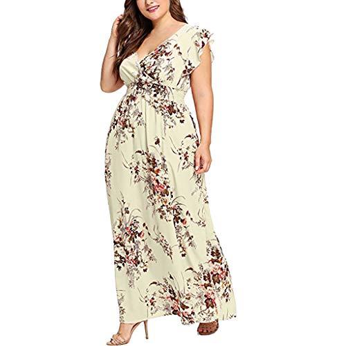 cookdate Plus Größe Damen Plus Size Sommer V-Ausschnitt Blumendruck Boho Sleeveless Party Maxi-Kleid Knielang Gelb XXXXXL -