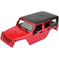Dilwe RC Car Body Shell, Duro Plástico 1/10 Escala Touring Body Shell para Jeep Wrangler Axial SCX 1/10 RC Coche DIY(Rojo)