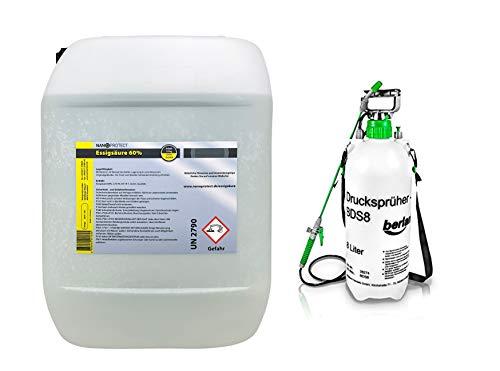 Nanoprotect Essigsäure 60% | 10 kg + Drucksprüher | Deutsche Ware | Premium Qualität