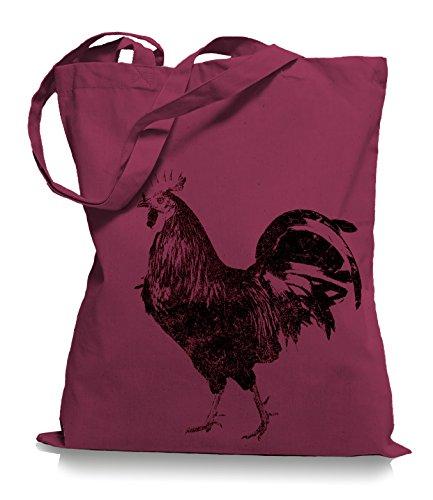 Ma2ca® Gallo Nero Borsa Di Stoffa Shopping Bag Borsa Da Trasporto / Bag Wm101 Mirtillo Rosso
