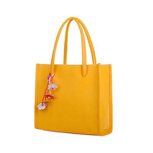 TIFIY Damen Solide Kleiner Anhänger PU-Leder Reißverschluss Handtasche Schulter Tasche Gelb
