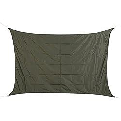 Toldo vela parasol rectangular 2 x 3 m, en tela impermeable - Color GRIS