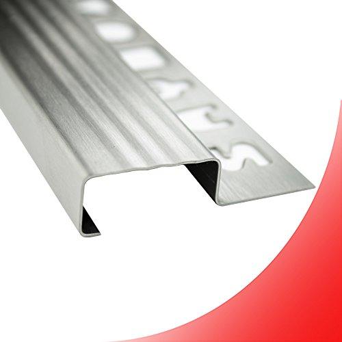 Edelstahl Stufenprofil Fliesenleiste Profil Treppen Schiene L250cm 25mm gebürstet