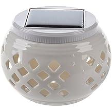 SODIAL(R) Lampara Luz para Mesa Jardin LED Blanco Solar Ceramica Patrones de Filigrana (Cuadricula)