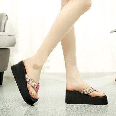 zhENfu Scarpe donna PVC tacco piatto infradito pantofole per esterno nero / rosso / Beige,Beige,US5.5 / EU36 / UK3.5 / CN35 Fuchsia