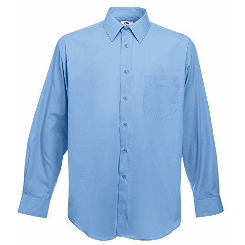 Fruit of the Loom Poplin long sleeve shirt Mid Blue