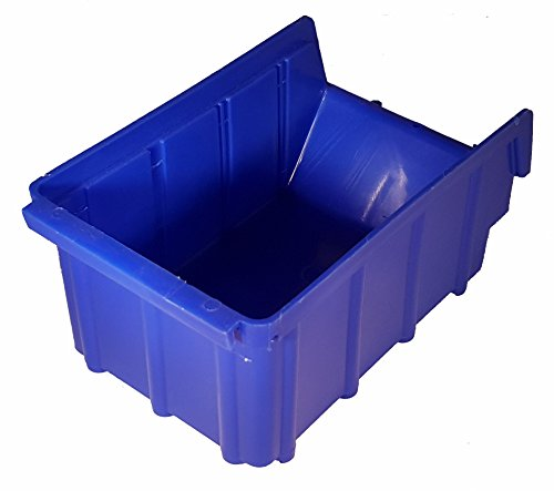 20 Stück Stapelboxen blau Gr.2 (102x167x76mm) Kunststoff PP Sichtlagerkästen Stapelkästen mit Aufhängevorrichtung