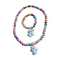 Lovely H Stone Kids Unicorn Jewelry Set,Unicorn Necklace,Bracelet Set-Candy Colors Necklaces For Little Girls Toddlers Children Play Pretend Dress Up (Colour2)