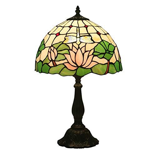 Tiffany-Stil Bunten Glas 12 Zoll Schlafzimmer Warmen Romantischen Tischlampe Europäischen Lotus Libelle Schatten Für Wohnzimmer Schlafzimmer Esszimmer Badezimmer - Lotus Schatten