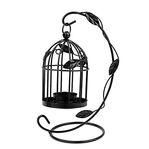 Hanging Birdcage Tea Light Holder Wedding Candle Holder Stand (Black)