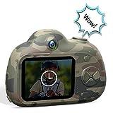 Bescita Kinder Digitalkamera, Digitalen Videokamera Kreative DIY Kamera Sport Mini Kamera mit 8 MP HD Fotos/ 1080P HD Videofunktion/LCD Bildschirm (Tarnung)
