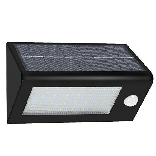 Solarleuchte, CrazyFire 32 Helle LED 400 Lumen Solar Wandstrahler,Kabellos LED Wandleuchten Nachtlicht,Solarbetriebene LED Bewegungsmelderlampen Sicherheitslicht für Türe,Flur,Wege,Terrassen,Gärten (Schwarze)