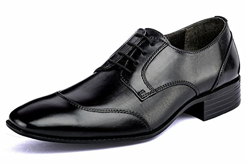 DE SCALZO Black Leather King Oxford Shoes for Men